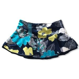 ROXY Floral Mini Blue Green and White Skirt